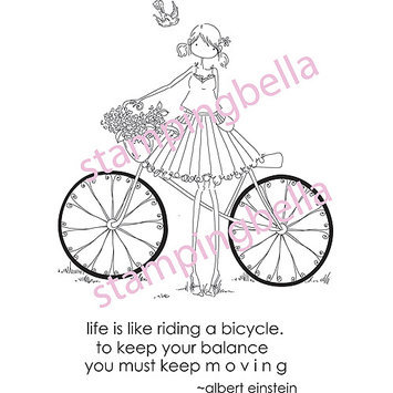 Stamping Bella Unmounted Rubber Stamp-Uptown Girl Flora and Her Bicycle