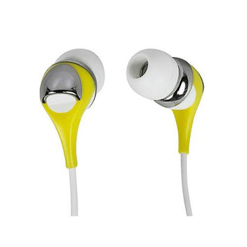 Monoprice 10152 Enhanced Bass Earphones with Built-in Microphone and Play And Pause Controls - Yellow