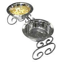 QT Dog Wrought Iron Classic Pet Diner Silver, 3 Quart