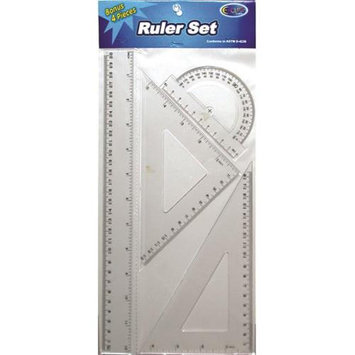 DDI 1284659 Plastic Ruler & Geometric Set - 4 pack