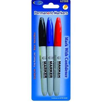 DDI 1281358 Permanent Markers - 3 pack - Fine Point- Asst. colors