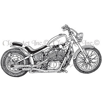 Class-act Class Act Cling Mounted Rubber Stamp 3.25inX5.5in-Motorcycle 1