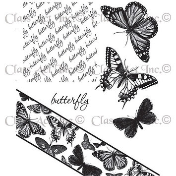 Class-act Chapel Road Cling Mounted Rubber Stamp Set 5.75inX6.75in-Angle Butterfly