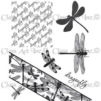 Class-act Chapel Road Cling Mounted Rubber Stamp Set 5.75inX6.75in-Angle Dragonfly