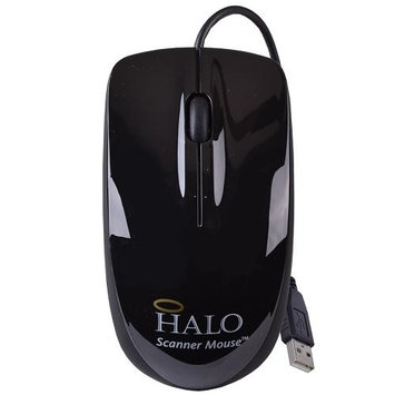 Halo Black 3-Button USB Laser Scroll Mouse w/ Photo/Document Scanner