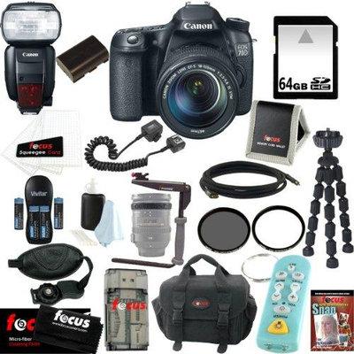 Canon EOS 70D SLR CMOS 20.2MP Digital Camera EFS 18-135mm Lens + Canon Speedlite 600EX-RT Shoe Mount Flash +64GB Memory Card + Tiffen 67mm UV Protector & Circul
