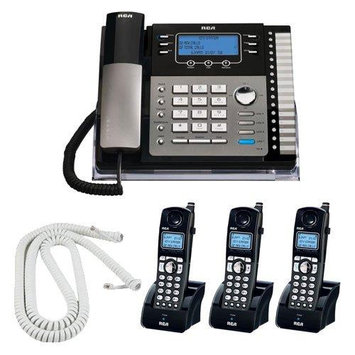 RCA 25424RE1 4-Line Expandable Business System Phone +Caller ID + 3 RCA DECT 6.0 Handsets + Electric Pencil Sharpener