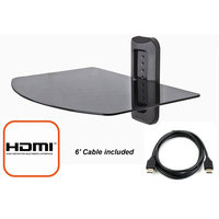 Atlantic @.com Adjustable Shelf for DVD Player, Cable Box/Receiver and Gaming Consoles in Black with HDMI Cable