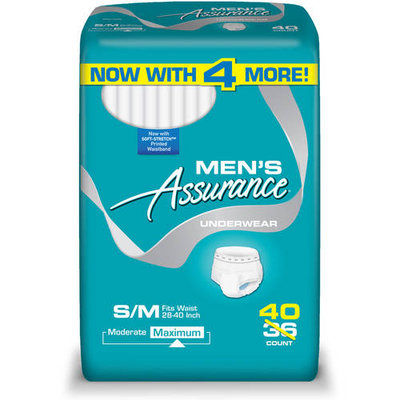 Assurance for Men Maximum Absorbency Protective Underwear, Small/Medium, 40 count