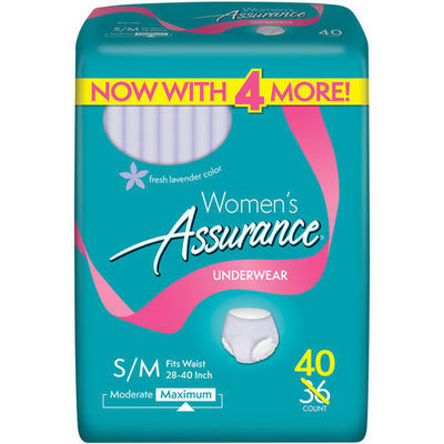 Assurance for Women Maximum Absorbency Protective Underwear, Small/Medium, 40 count