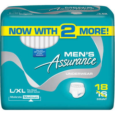 Assurance for Men Maximum Absorbency Protective Underwear, Large/Extra Large, 18 count