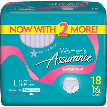 Assurance for Women Maximum Absorbency Protective Underwear, Large, 18 count