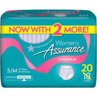 Assurance for Women Maximum Absorbency Protective Underwear, Small/Medium, 20 count