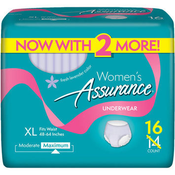 Assurance for Women Maximum Absorbency Protective Underwear, Extra Large, 16 count
