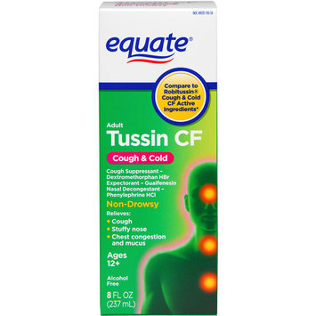 Equate Tussin Cough & Cold Non Drowsy Cough Suppressant/Expectorant/Nasal Decongestant 8