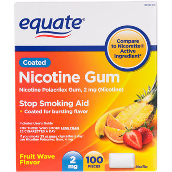 Equate Nicotine Gum 2 Mg Fruit Flavor Stop Smoking Aid - 100 Ct