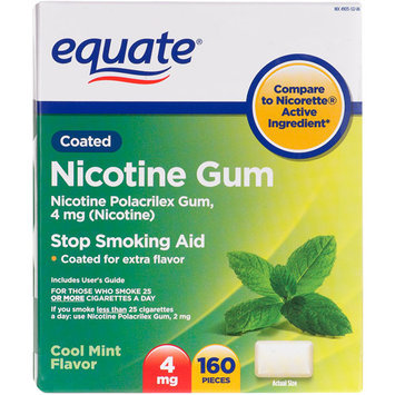 Equate Nicotine Gum 4 Mg Cool Mint Flavor Stop Smoking Aid - 160 Ct