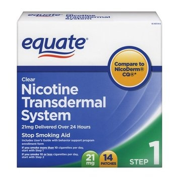 Equate Nicotine Transdermal System Step 1, 21mg Clear Patch, 14 Patches