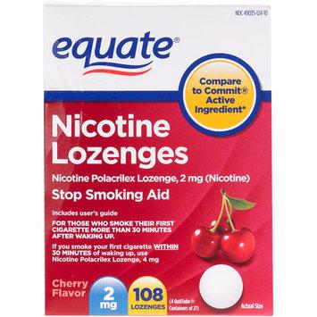 Equate Stop Smoking Aid Nicotine Lozenge 2mg, Cherry, 108 Pieces