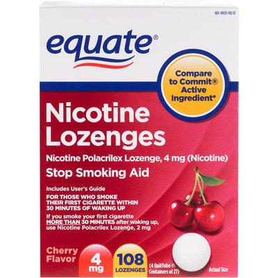 Equate Stop Smoking Aid Nicotine Lozenge 4mg, Cherry, 108 Pieces