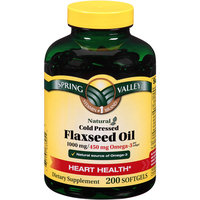 Spring Valley Natural Cold Pressed Flaxseed Oil Softgels, 1000mg, 200 count