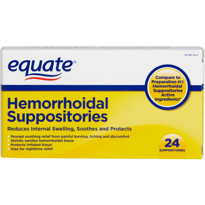 Equate Hemorrhoidal Suppositories 24 Ct Equate Reduces Internal Swelling, Soothes And Protects Hemorrhoidal Suppositories 24