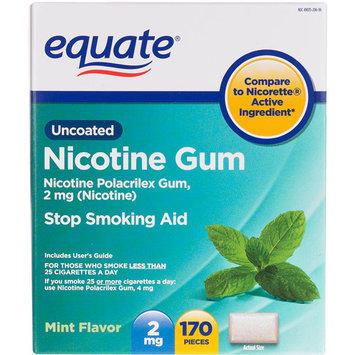 Equate Nicotine Polacriex Gum 2Mg (Nicotine)/Stop Smoking Aid/Mint Nicotine Gum - 170 Ea