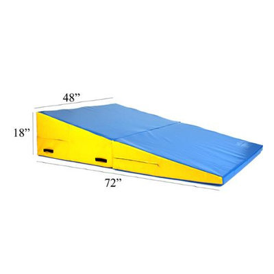 Commercial Bargains Inc Folding Incline Gymnastics Mat Training Foam Triangle Tumbling Wedge Blue Yellow