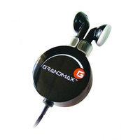 Grandmax R-AUDIO-4 Retractable Stereo Earphone, Black