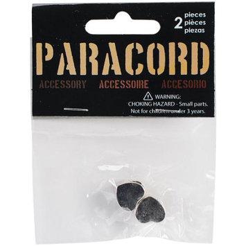 Midwest Design Paracord Charm-Silver Heart Slider 2/Pkg