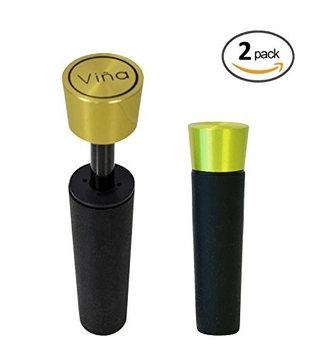 2 Pack, Vina Red Wine Vacuum Retain Freshness Bottle Air Pump Sealer Stopper Plug, Light Golden