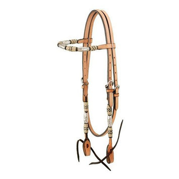 Jt Intl Distributers Inc Browband Headstall With Braided Rawhide & Silver Barrels