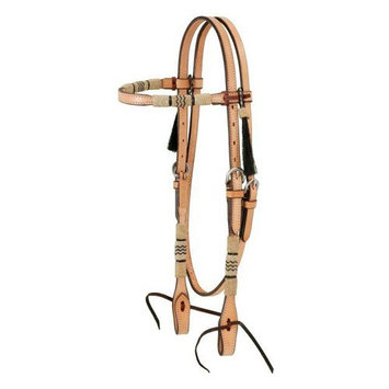 Jt Intl Distributers Inc Browband Headstall With Braided Rawhide & Horsehair Tassels