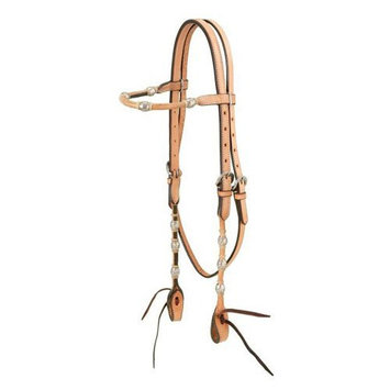 Jt Intl Distributers Inc Royal King Browband Headstall with Braided Rawhide and Silver Balls