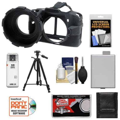 MADE Rubberized Camera Armor (Black) + Spudz Cleaning Kit for Canon Rebel XS, XSi, T1i & T2i