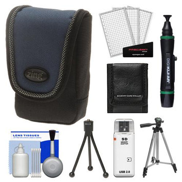 Zing Contour Small Digital Camera Pouch Case (Black/Blue) with 50 Tripod + Accessory Kit