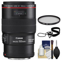 Canon EF 100mm f/2.8 L IS Macro USM Lens with Hoya Multi-Coated UV Filter + Accessory Kit