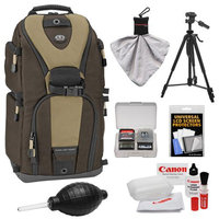 Tamrac 5786 Evolution 6 Photo Digital SLR Camera Sling Backpack (Brown/Tan) + Tripod Kit for Canon