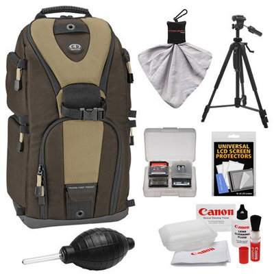 Tamrac 5786 Evolution 6 Photo Digital SLR Camera Sling Backpack (Brown/Tan) + Tripod Kit for Canon