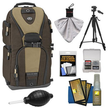 Tamrac 5786 Evolution 6 Photo Digital SLR Camera Sling Backpack (Brown/Tan) + Tripod Kit for Nikon