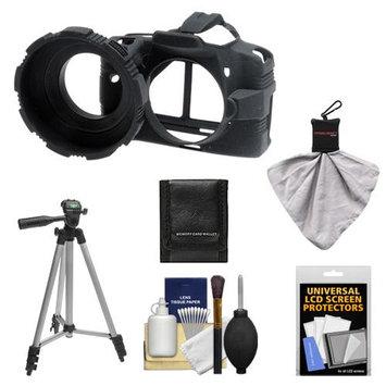 MADE Rubberized Camera Armor (Black) + Tripod + Accessory Kit for Canon Rebel XS, XSi, T1i & T2i