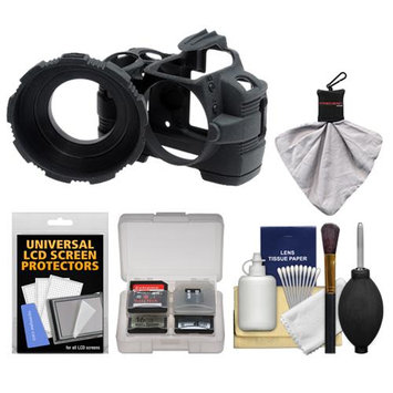 MADE Rubberized Camera Armor Case for Nikon D3000 (Black) with Spudz + Cleaning Kit
