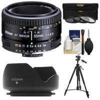 Nikon 50mm f/1.8D AF Nikkor Lens with 3 Filters + Hood + Tripod Kit for D3200, D3300, D5300, D5500, D7100, D7200, D750, D810 Cameras with NIKON USA Warranty