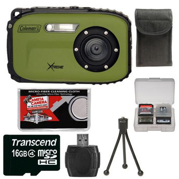 Coleman Xtreme C5WP Shock & Waterproof Digital Camera (Green)with 4GB Card + Case + Accessory Kit