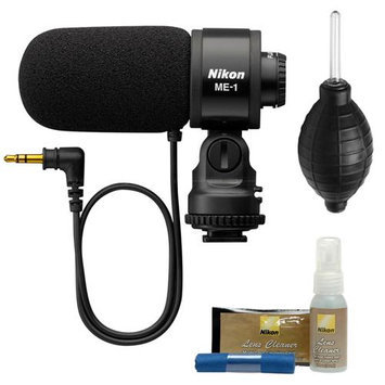 Nikon ME-1 Stereo Microphone for D7000, D5100, D3s, D300s, Coolpix P7000 Digital Cameras Supplied with Wind Screen and Soft Case with Nikon Cleaning Kit