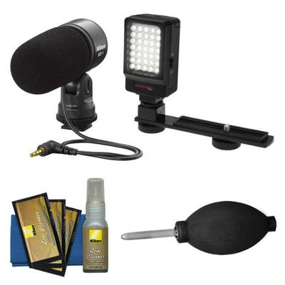 Nikon ME-1 Stereo Microphone for D7000, D5100, D3s, D300s, Coolpix P7000 Digital Cameras Supplied with Wind Screen and Soft Case + LED Video Light + Nikon Cleaning Kit