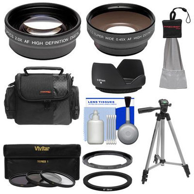Bower FA-DC67A Adapter Ring for Canon PowerShot SX30 IS & SX40 HS Digital Camera (67mm) with .45x Wide Angle & 2x Telephoto Lenses + 3 UV/FLD/CPL Filter Set + Hood + Case Kit