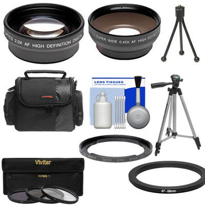 Bower Adapter Tube for Canon PowerShot SX30 IS Digital Camera (67mm) with .45x Wide Angle & 2x Telephoto Lenses + 3 (UV/CPL/FLD) Filters + Tripod + Case + Cleaning Kit