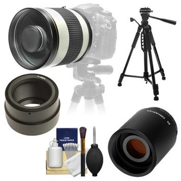 Samyang 800mm f/8.0 Mirror Lens (White) & 2x Teleconverter with 57 Tripod + Accessory Kit for Sony Alpha NEX Digital Cameras