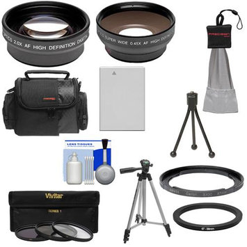 Bower FA-DC67A Adapter Ring for Canon PowerShot SX40 HS Digital Camera (67mm) with .45x Wide Angle & 2x Telephoto Lenses + Filters + NB-10L Battery + Tripod + Case Kit